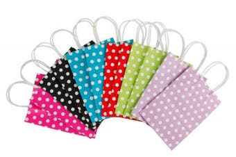 (Dot) - RUSPEPA 12 Pcs Dots 15x8x21 cm Dark Colourful Medium Gift Bags with String Handles for All Occasions