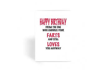 Funny Birthday Card,Rude Birthday Card,Cheeky Birthday Card,Friend Birthday Card - From The One Who Endures Your Farts Greeting Card
