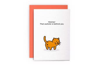 Cat Break Up Divorce Funny Rude Humorous – HOORAY! THAT ASSHOLE IS BEHIND YOU – Break Up Divorce Card Greeting Card Friends Joke Naughty For Him For Her