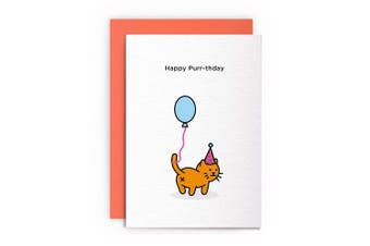 Cat Funny Rude Humorous –HAPPY PURR-THDAY– Birthday Card Greeting Card Friends Joke Naughty For Him For Her