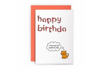 Cat Funny Rude Humorous - I Ran Out of Stuff to Kill- Birthday Card Greeting Card Friends Joke Naughty for Him for Her
