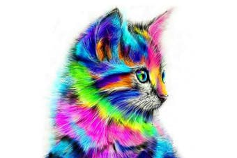 COCODE DIY 5D Diamond Painting by Number Kit, Crystal Rhinestone Full Drill Cute Cat Embroidery Cross Stitch Arts Craft Canvas for Home Wall Decoration, 30cm x 30cm