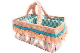 (Nursery Storage Caddy, Coral/Aqua) - Bacati Sophia Paisley Nursery Fabric Storage Caddy with Handles, Coral/Aqua
