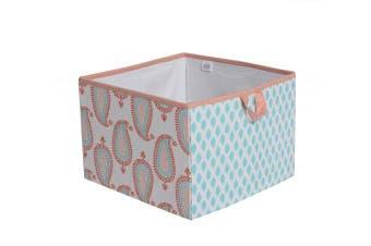 (Large Storage Tote 14 x 36cm  x 25cm , Coral/Aqua) - Bacati Sophia Paisley Fabric Storage Box/Tote Large, Coral/Aqua