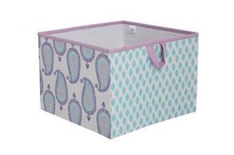 (Large Storage Tote 14 x 36cm  x 25cm , Lilac/Purple/Aqua) - Bacati Isabella Girls Paisley Fabric Storage Box/Tote Large, Lilac/Purple/Aqua