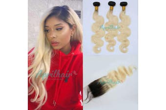 (12 with 12 14 16, bundles with closure) - Aprilhair Pre-plucked 3 Bundles With 4x4 Lace Closure Dark Root 1B/613 Honey Blonde 2 Tone Ombre Unprocessed Brazilian Virgin Human Hair Weave Body Wave With Baby Hair(12+12 14 16)
