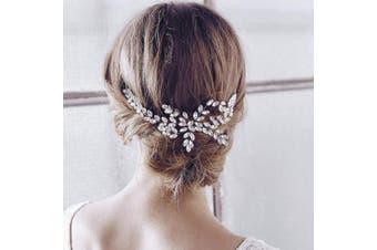 Barogirl Wedding Rhinestone Hair Comb Silver Bridal Headpiece Floral Vintage Bridal Hair Accessories for Brides and Bridesmaids