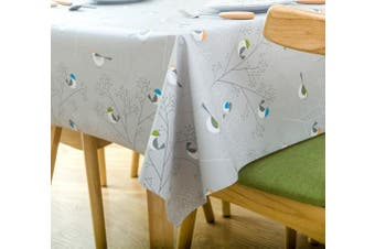 (54X108 Inch - 137X275 cm, small bird) - LEEVAN Heavy Weight Vinyl Rectangle Table Cover Wipe Clean PVC Tablecloth Oil-proof/Waterproof Stain-resistant/Mildew-proof - 140cm x 270cm (small bird)