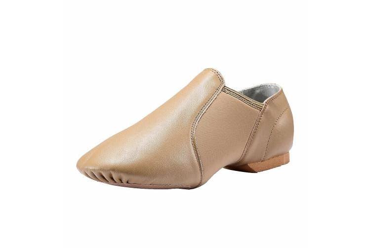 (6 M US Big Kid Heel to Toe: 9 5/8''/24.4cm, Brown) - Dynadans Leather Upper Slip-on Jazz Shoe (Big Kid/Little Kid/Toddler)