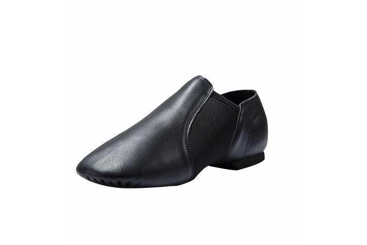 (1.5 M US Little Kid Heel to Toe: 8''/20.3cm, Black) - Dynadans Leather Upper Slip-on Jazz Shoe (Big Kid/Little Kid/Toddler)