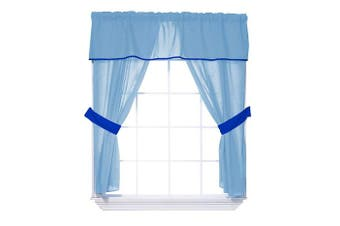 (Light Blue/Royal Blue) - Baby Doll Bedding Solid two tone 5-Piece Window Valance Curtain Set, Light Blue/Royal Blue