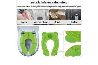 (Green) - Travel Portable Folding Potty Training Toilet Seat Cover, Non Slip Silicone Pads, Suitable for Kids Baby Boys and GirlsS