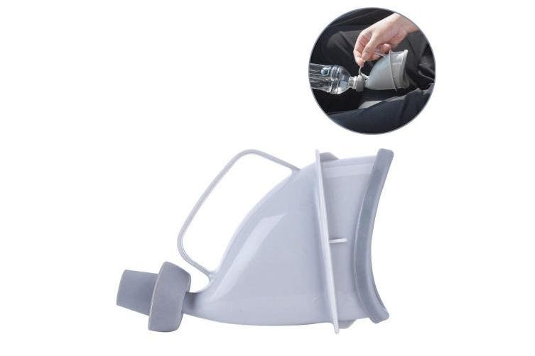 (Grey-Female) - Grey Female Unisex Urine Bottle Funnel Urination Device Portable Reusable Travel Toliet
