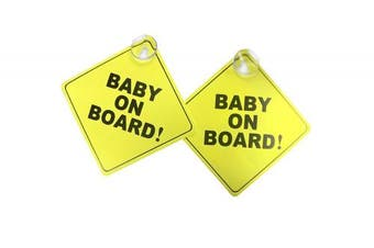 Baby on board car sign with suction cup. Heat resistant and very effective suction cup.