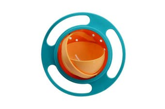 (Blue) - BUYITNOW Baby Rotate Spill-proof Bowl Funny Kids 360 Dgree Rotation Gyroscope Trainning Tableware With Lid Green and Orange