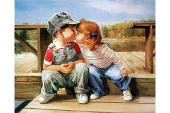 (No Frame, First Kiss) - ABEUTY DIY Paint by Numbers for Adults Beginner - Kiss Childhood Friends 41cm x 50cm Number Painting Anti Stress Toys (No Frame)