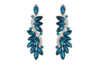 (Blue Topaz Color) - Clearine Women's Fashion Wedding Bridal Crystal Flower Romantic Dangle Clip-On Earrings