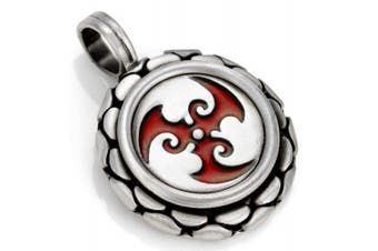(Red) - Bico Trispara Pendant (B91) - spiralling waves - Coloured Resin and Metal Tribal Street Jewellery