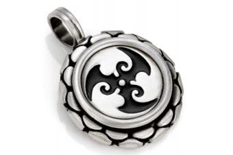 (Black) - Bico Trispara Pendant (B91) - spiralling waves - Coloured Resin and Metal Tribal Street Jewellery