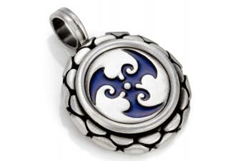 (Blue) - Bico Trispara Pendant (B91) - spiralling waves - Coloured Resin and Metal Tribal Street Jewellery