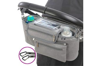 (Grey) - BTR Buggy Organiser Pram Bag with Detachable Purse & Mobile Phone Holder. Grey