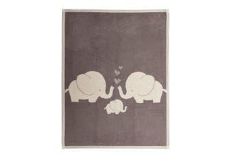(Elephant) - Arus Baby Turkish Cotton Blend Blanket Elephant 80cm x 100cm