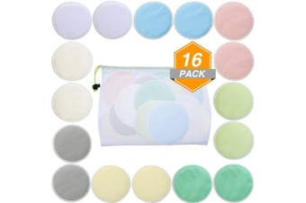 16 Pieces Bamboo Makeup Remover Pads Soft Face Clean Pads Facial Clean Skin Care Wash Cloth Pad with Mesh Bag, Assorted Colours
