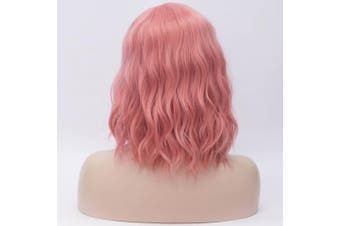 (Pink 2) - 36cm Women Short Wavy Curly Wig Pink Bob Wig Cosplay Halloween Synthetic Wigs 22 Colours Available