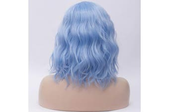 (Light Blue) - 36cm Women Short Wavy Curly Wig Light Blue Bob Wig Cosplay Halloween Synthetic Wigs 22 Colours Available