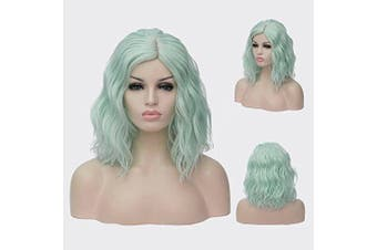 (Light Green) - 36cm Women Short Wavy Curly Wig Light Green Bob Wig Cosplay Halloween Synthetic Wigs 22 Colours Available
