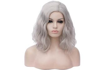 (Silver) - 36cm Women Short Wavy Curly Wig Silver Bob Wig Cosplay Halloween Synthetic Wigs 22 Colours Available
