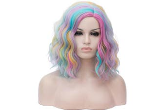 (Rainbow) - 36cm Women Short Wavy Curly Wig Rainbow Bob Wig Cosplay Halloween Synthetic Wigs 22 Colours AvailableRainbow
