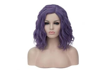 (Dark Purple) - 36cm Women Short Wavy Curly Wig Dark Purple Bob Wig Cosplay Halloween Synthetic Wigs 22 Colours Available