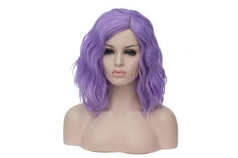 (Purple) - 36cm Women Short Wavy Curly Wig Purple Bob Wig Cosplay Halloween Synthetic Wigs 22 Colours Available