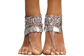 (Silver_Style 8) - Bienvenu Hot Boho Silver Coin Anklet Bracelet Bohemian Tassel Barefoot Sandals Chain Jewellery