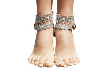 (Silver_Style 5) - Bienvenu Hot Boho Silver Coin Anklet Bracelet Bohemian Tassel Barefoot Sandals Chain Jewellery