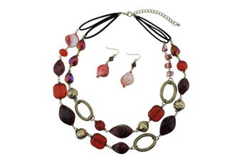 (wine) - Bocar 2 Strand Statement Choker Shell Necklace and Earring Set for Women Gift