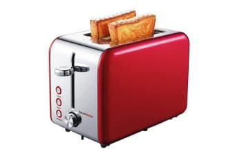 (Red Stainless Steel) - Bonsenkitchen 2 Slice Red Toaster, Extra Wide Slot 14cm *3.6cm for Bagel, 7 Browning Settings, Defrost/Bagel/Cancel Functions, Stainless Steel Bread Toaster