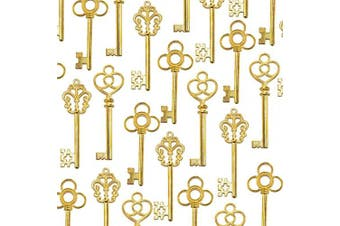 (Antique Gold) - Aokbean Mixed Set of 30 Vintage Skeleton Keys in Antique Gold - Set of 30 Keys(Gold)