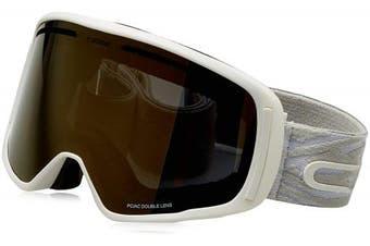 (Medium, Matt White Grey) - Cébé Core Ski Goggles