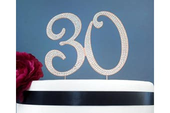 (30 Rose Gold) - 30 ROSE GOLD Cake Topper | Premium Sparkly Crystal Rhinestone Diamond | 30th Anniversary or Birthday Cake Topper Decoration Ideas | Thirty Cake Topper | Perfect Keepsake (30 Rose Gold)