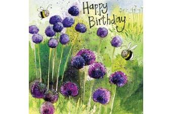Alliums Bees Birthday Card by Alex Clark