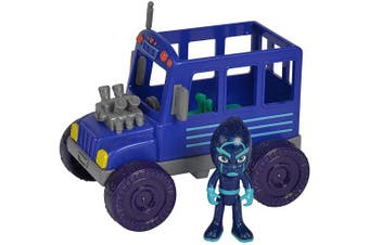 Simba 109402228 - PJ Masks Ninja with Bus / with Villain Night Ninja / with Action Figure / Blue / Vehicle 15 cm Large / Figure 8 cm Large for Children from .