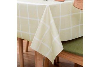 (140cm  x 200cm , Matcha Plaid) - LOHASCASA Vinyl Oilcloth Tablecloth Rectangular Wipeable Oil-Proof Waterproof PVC Tablecloth Kitchen Checked 140cm x 200cm