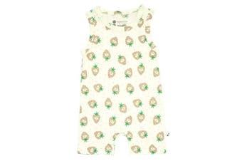 (6-12 Months, Strawberry) - Babysoy Fruit Pattern Tank Romper Shortall (6-12 Months, Strawberry)