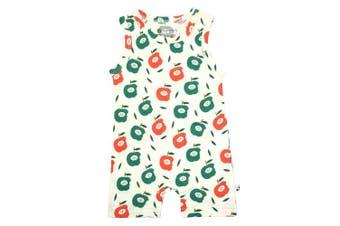 (6-12 Months, Apple) - Babysoy Fruit Pattern Tank Romper Shortall (6-12 Months, Apple)