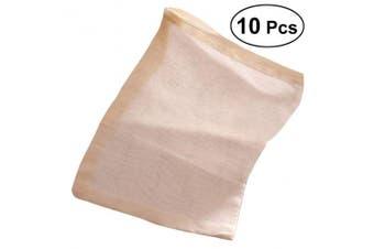 BESTONZON 10PCS 30x40cm Cotton Reuseable Drawstring Bags Strainer Filter Bag Drawstring Bags Tea Bags for Nut Milk Tea Fruit Juice