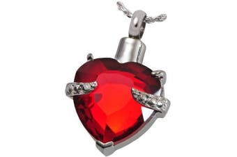 (RED HEART) - CPUK (TM) GLASS HEART CREMATION JEWELLERY ASHES MEMORY URN KEEPSAKE MEMORIAL GIFT STAINLESS STEEL ASH LOCKET MENS WOMEN UNISEX PET HOLDER SILVER TONE FREE NECKLACE AND FUNNEL