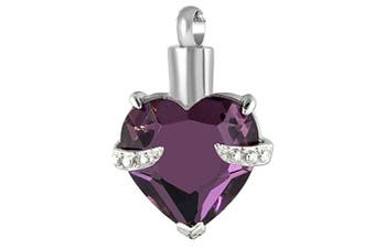 (PURPLE HEART) - CPUK (TM) GLASS HEART CREMATION JEWELLERY ASHES MEMORY URN KEEPSAKE MEMORIAL GIFT STAINLESS STEEL ASH LOCKET MENS WOMEN UNISEX PET HOLDER SILVER TONE FREE NECKLACE AND FUNNEL