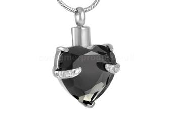 (BLACK HEART) - CPUK (TM) GLASS HEART CREMATION JEWELLERY ASHES MEMORY URN KEEPSAKE MEMORIAL GIFT STAINLESS STEEL ASH LOCKET MENS WOMEN UNISEX PET HOLDER SILVER TONE FREE NECKLACE AND FUNNEL